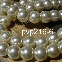 Perla Fantasía 8 mm, en color crema, tira de 140 perlas aprox