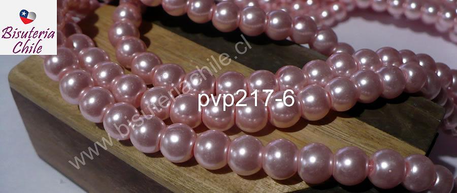 Perla Fantasía 8 mm, en color rosado, tira de 105 perlas aprox