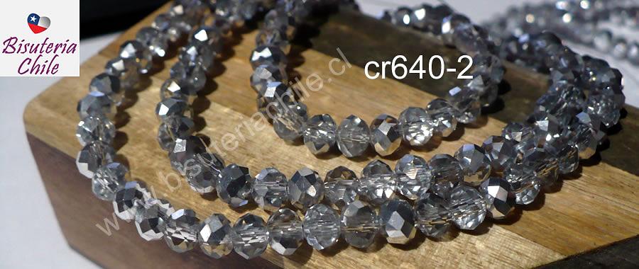 Cristal facetado 6 mm color transparente con plateado, tira de 94 cristales