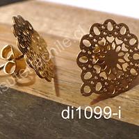 Base para pendientes de acero dorado, 14 mm de diámetro por par