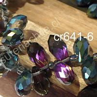 cristal en forma de gota, facetado color tornasol, 12 mm de largo por 6 mm de ancho, set de 10 unidades