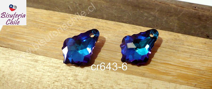 Cristal excelente calidad, austriaco, gota,  con orificio superior 16 x 12 mm, por par
