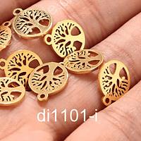 Dije acero dorado árbol de la vida, 10 mm, por unidad