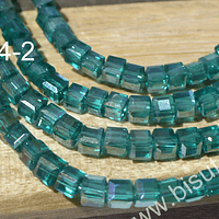 Cristal facetado cuadrado calipso verdoso, 3 mm, tira de 99 cristales aprox.