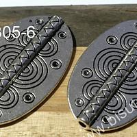 Separado plateado con diseño étnico, 36 x 22 mm, set de 2 unidades