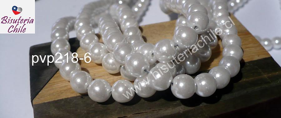 Perla Fantasía 8 mm, en color blanco, tira de 140 perlas aprox