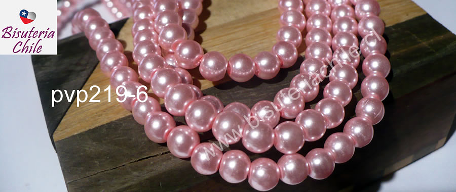 perla de vidrio rosada, imitación perla 6 mm, tira de 145 perlas