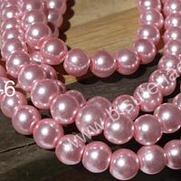 perla de vidrio rosada, imitación perla 6 mm, tira de 150 perlas