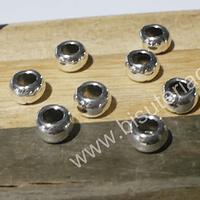 Separador plateado, 7 mm, 4 mm de ancho, agujero de 3 mm, set de 10 unidades
