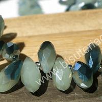 cristal en forma de gota, facetado color verde matizado, 12 mm de largo por 6 mm de ancho, set de 10 unidades