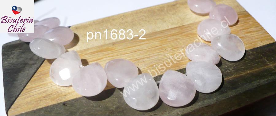 Cuarzo rosado en forma de gota facetada, 12 mm de largo x 10 mm de ancho, tira de 14 piedras