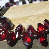 cristal en forma de gota, facetado color rojo matizado, 12 mm de largo por 6 mm de ancho, set de 10 unidades