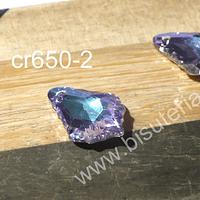 Cristal excelente calidad, austriaco, gota tornasol, con orificio superior 16 x 12 mm, por par
