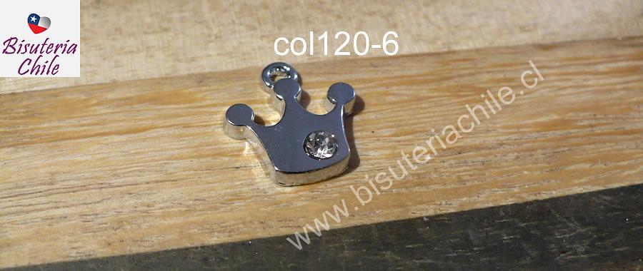Colagnte acero con circon en forma de corona, 19 mm de largo por 13 mm de ancho, por unidad