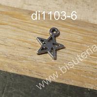 Dije acero en forma de estrella, 7 mm de diámetro, por unidad