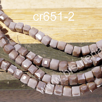 Cristal facetado palo de rosa cuadrado, 3 mm, tira de 99 cristales aprox.