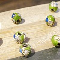 Perla española verde claro de 6 mm, set de 8 unidades