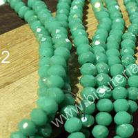 Crista facetado de 4 mm color jade verdoso con brillos  plateados tira de 140 unidades