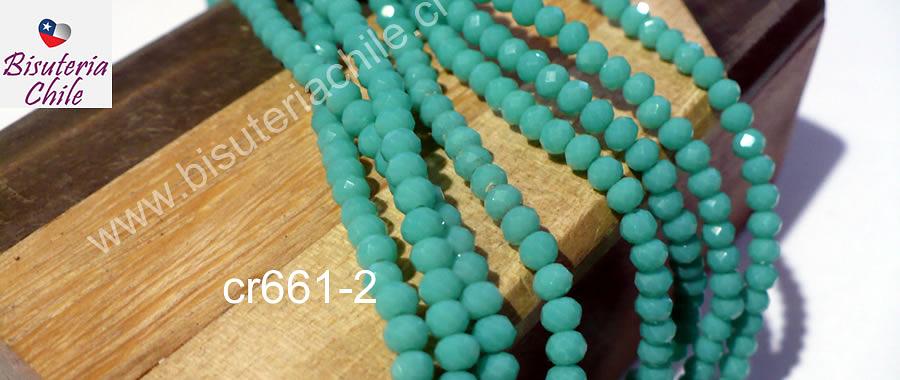 Cristal facetado color jade de 3 mm x 2 mm, tira de 148 cristales aprox.