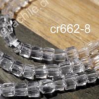 Cristal facetado cuadrado color transparente, 3 mm, tira de 99 cristales aprox.
