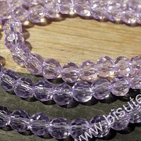 Cristal redondo facetado color lila de 4 mm, tita de 95 cristales