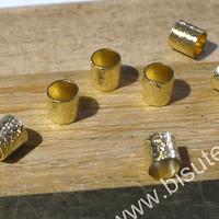 Separador baño de oro, 4 x x4 mm, agujero de 3 mm, set de 7 unidades