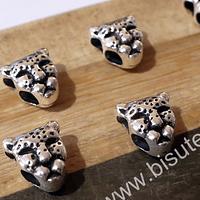 Separador leopardo plateado, 10 x 10 agujero de 4 mm, set de 7 unidades
