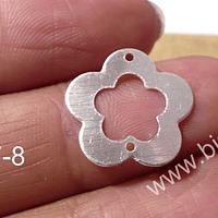 Dije doble conexión baño de plata, 18 mm de diámetro, por unidad