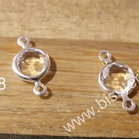 Dije doble conexión baño de plata, con cristal trasparente facetado, 12 mm de largo x 6 mm de ancho, set de 2 unidades