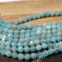 Amazonita aqua facetada de 2,5 mm, tira de 155 piedras aprox.