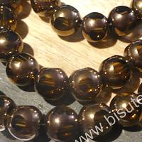vidrio color cafe claro con cobre, 8 mm, tira de 40 perlas aprox