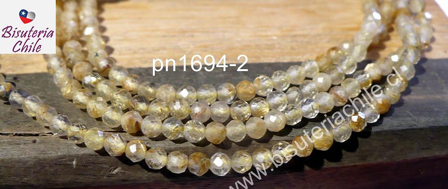 Cuarzo rutilado facetado de 2.5 mm tira de 130 piedras aprox