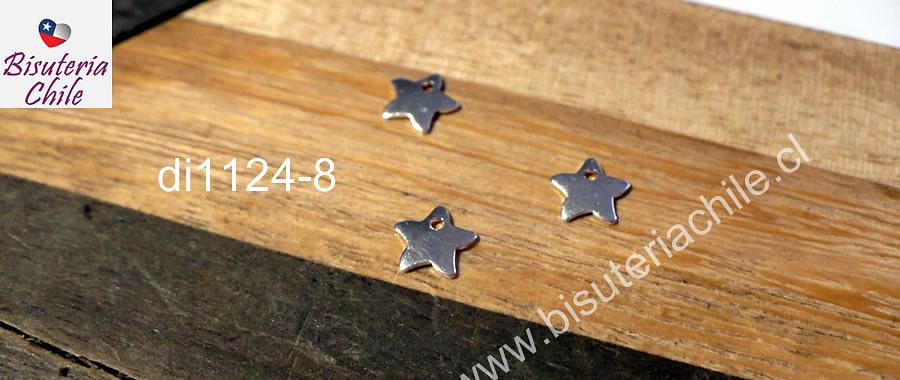 Dije estrella baño de plata, 6 x 6 mm, set de 3 unidades