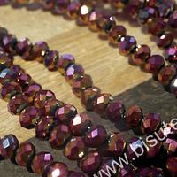 Cristal facetado de 4 mm color rosa y dorado brillante, tira de 148 cristales aprox.