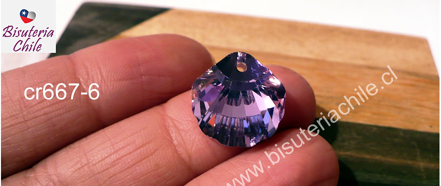 Cristal excelente calidad, austriaco, en forma de concha, con orificio superior 16 x 16 mm, color rosa tornasol, por unidad