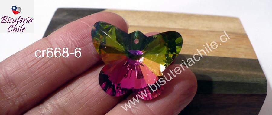 Cristal tornasol en forma de mariposa, 30 x 23 mm, por unidad