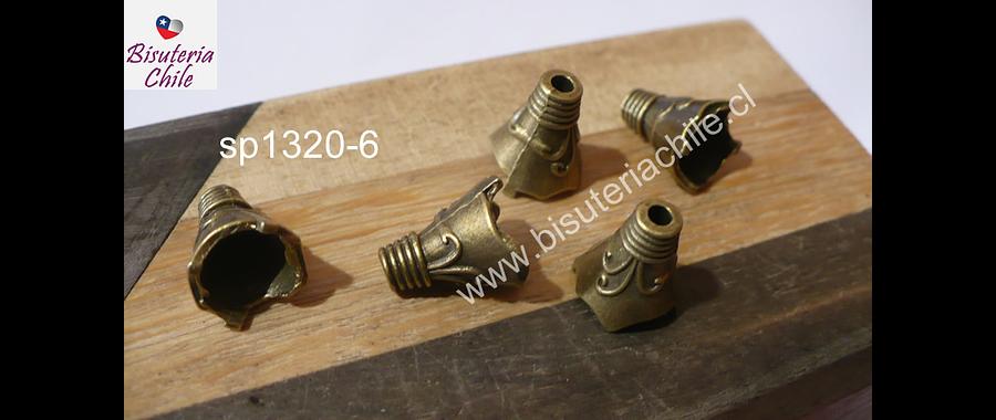 Casquete envejecido con diseño, 13 mm de largo x 12 mm de ancho, set de 5 unidades