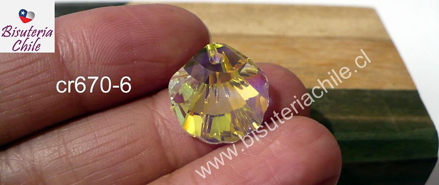 Cristal excelente calidad, austriaco, en forma de concha, con orificio superior 16 x 16 mm, color tornasol, por unidad