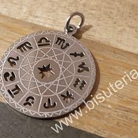 Colgante acero, constelación con los signos zodiacales, 26 mm de diámetro, por unidad