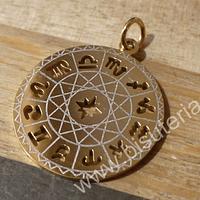 Colgante acero dorado, constelación con los signos zodiacales, 26 mm de diámetro, por unidad.