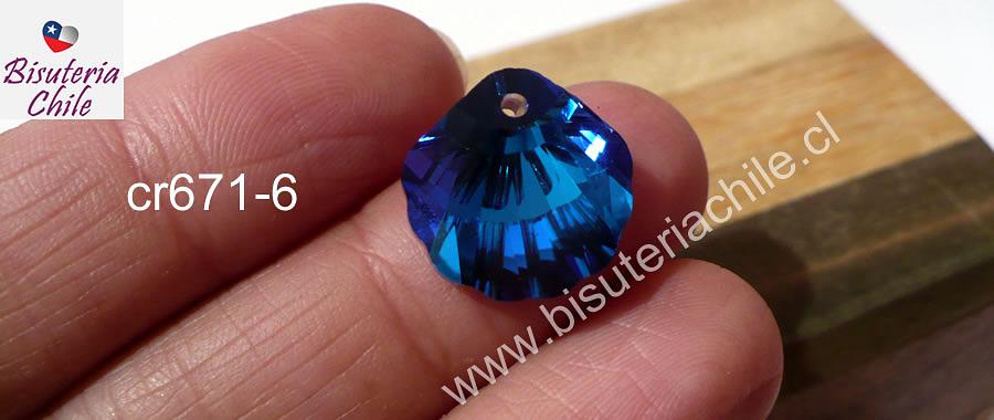 Cristal excelente calidad, austriaco, en forma de concha, con orificio superior 16 x 16 mm, color azul, por unidad
