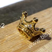 Corona dorada Zirconia Micro Pave, alta calidad, en  color dorado, 12 x 7 mm, por unidad