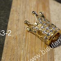 Corona dorada Circonia Micro Pave, alta calidad, en color dorado, 14 de largo x 8 mm de ancho, por unidad