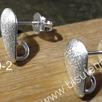 Base de aro baño de plata, 12 x 8 mm, por par