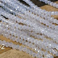 Cristal facetado blanco priedra luna de 2 x 2 mm, tira de 190 cristales