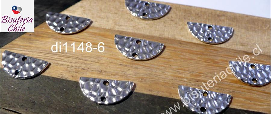 Dije plateado doble conexión, 15 x 8 mm, set de 8 unidades
