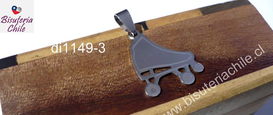 Colgante de acero quirurgico en forma de patín, 20 x 23 mm, por unidad