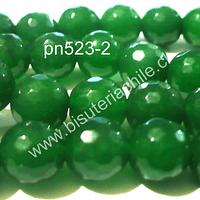 Agata en tono verde, 10 mm, tira de 38 piedras aprox