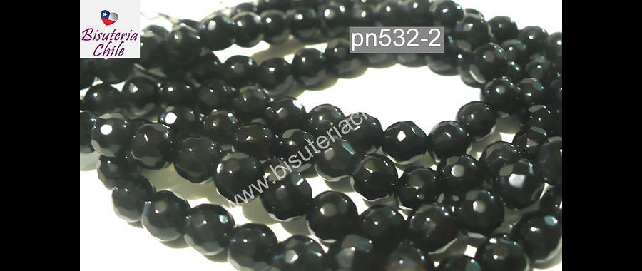 agata en tonos negros en 4 mm, tira de 90 piedras aprox
