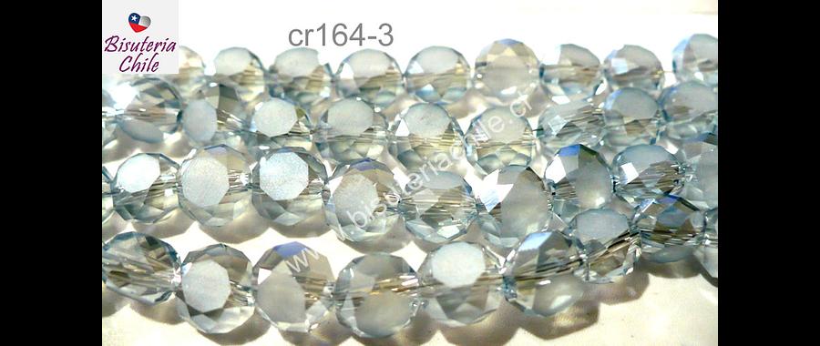 Cristal facetado gris claro achatado 8mm de diámetro por 8 mm de ancho, tira de 35 unidades